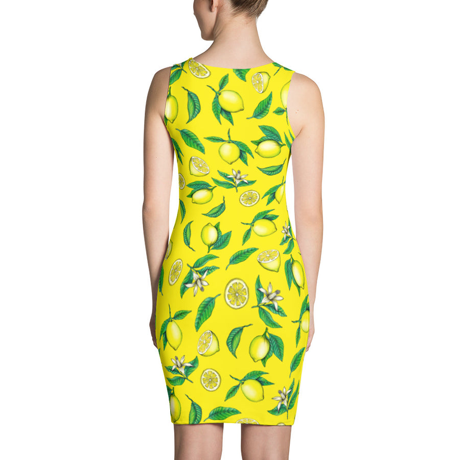 """Lemons"" Yellow Sublimation Cut & Sew Dress - vegan-styles"