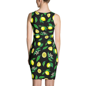 """Lemons"" Black Sublimation Cut & Sew Dress - vegan-styles"