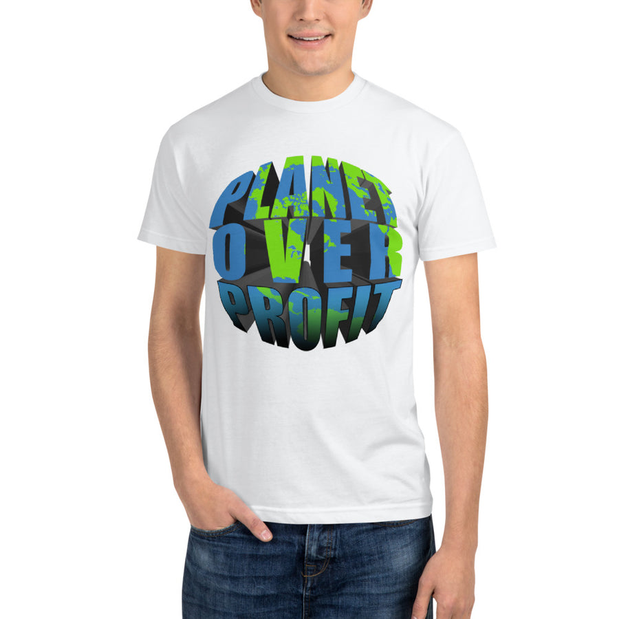 """Planet Over Profit"" Sustainable T-Shirt - vegan-styles"