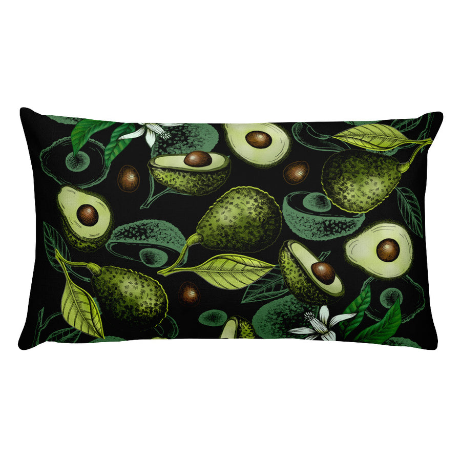 """Avocado"" Black Premium Pillow - vegan-styles"