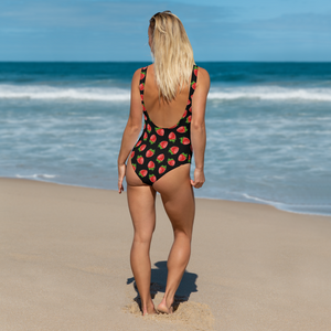 """Strawberry"" Black One-Piece Swimsuit - vegan-styles"