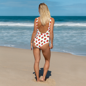 """Strawberry"" White One-Piece Swimsuit - vegan-styles"