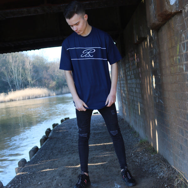 Navy Piped Centre logo Tee