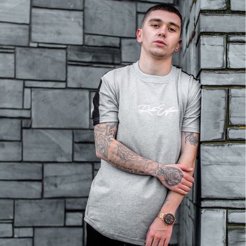 Grey signature Tape Tee