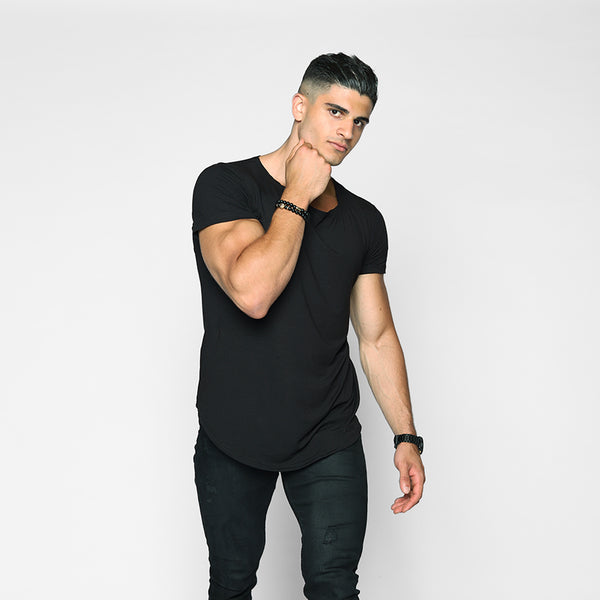 Black Scoop Neck Shirt - WDCS | Widesthetics