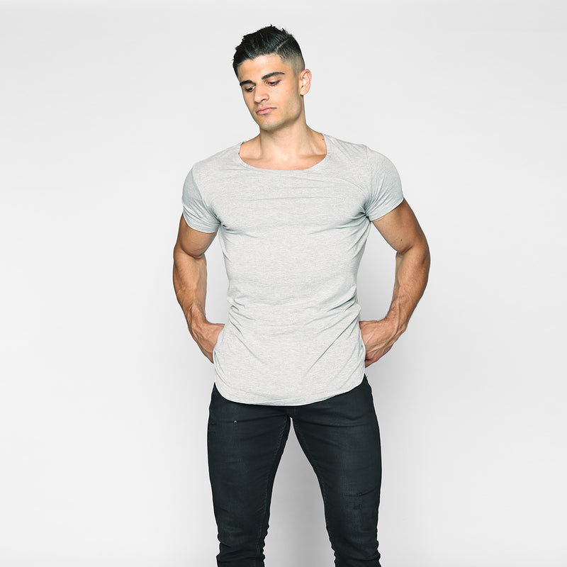 Shadow Grey Scoop Neck Shirt - WDCS | Widesthetics