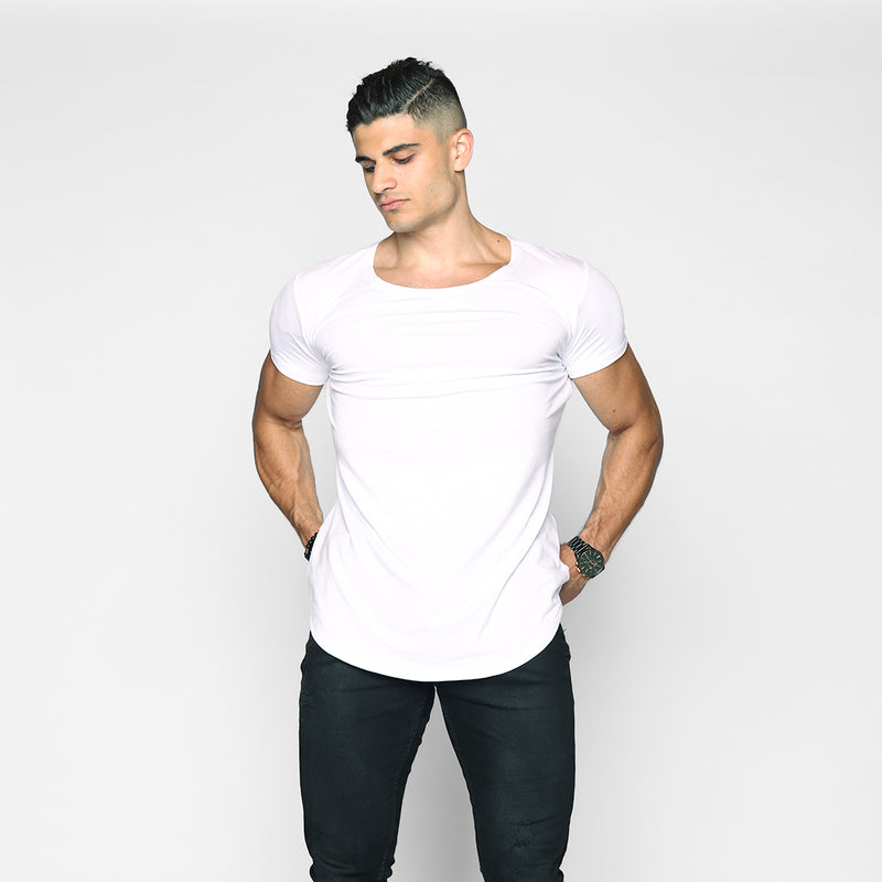 Mykonos White Scoop Neck Shirt - WDCS | Widesthetics