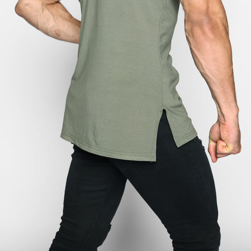 Khaki Elongated Tee - WDCS | Widesthetics