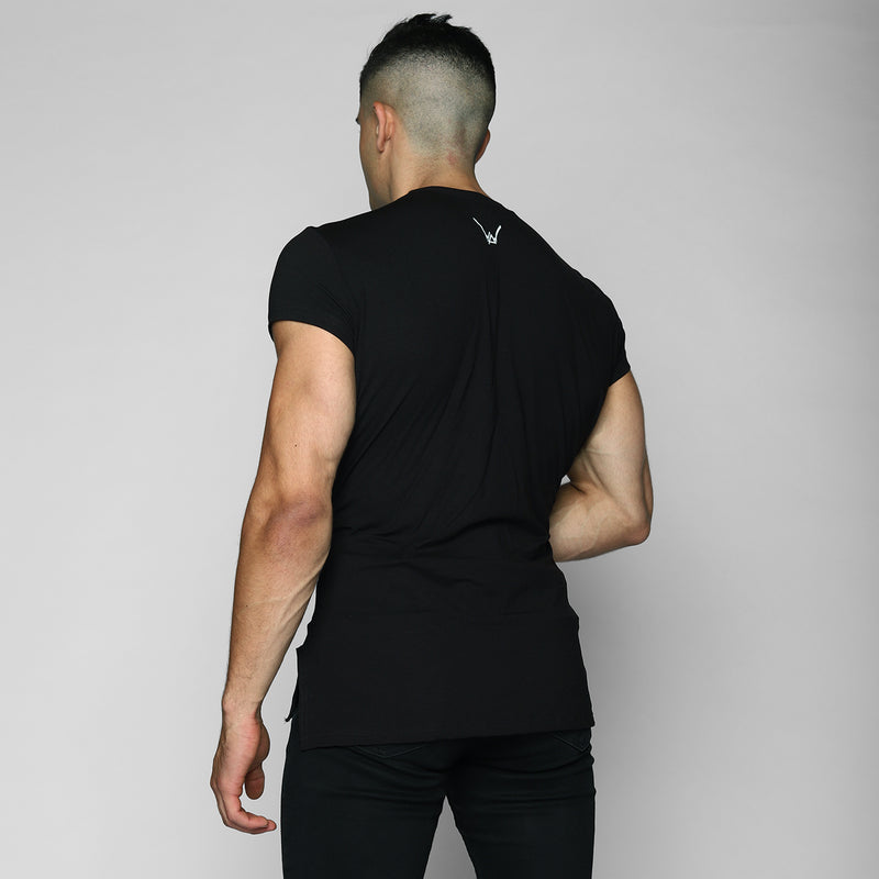 Black Elongated Tee - WDCS | Widesthetics