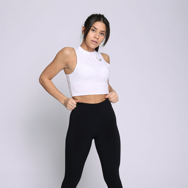 Bamboo White Cropped Tank Top - WDCS | Widesthetics