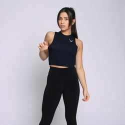 Bamboo Navy Cropped Tank Top - WDCS | Widesthetics