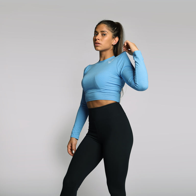 Bamboo Ocean Blue Crop Top LS - WDCS | Widesthetics
