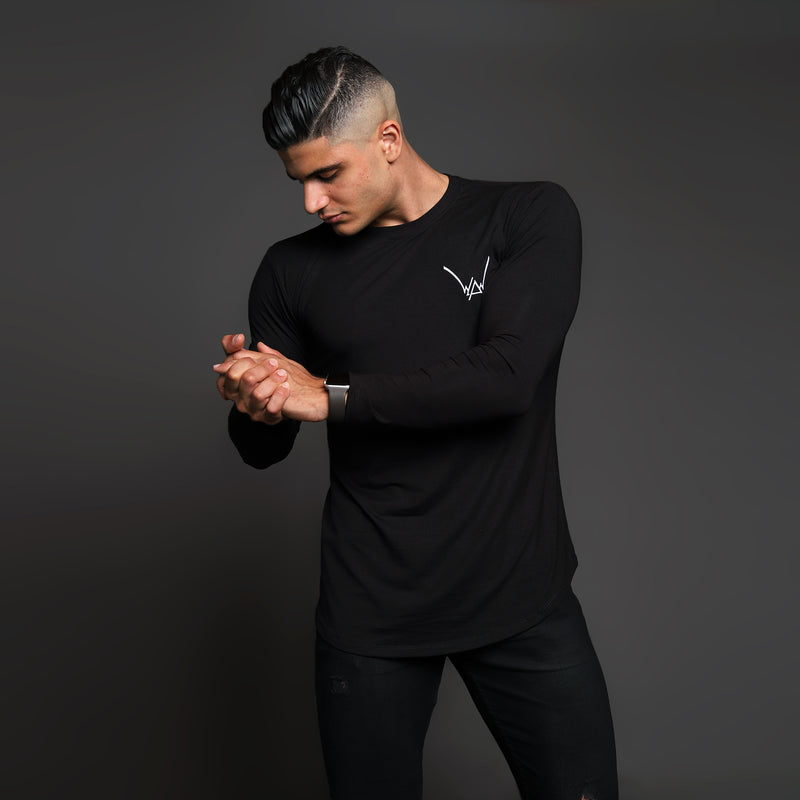 Bamboo Embroidered LS Urban Jet Black Shirt - WDCS | Widesthetics