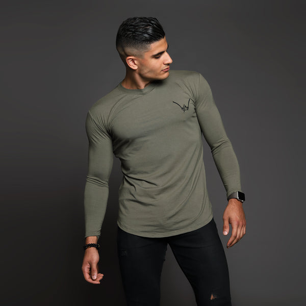 Bamboo Embroidered LS Urban Khaki Shirt - WDCS | Widesthetics