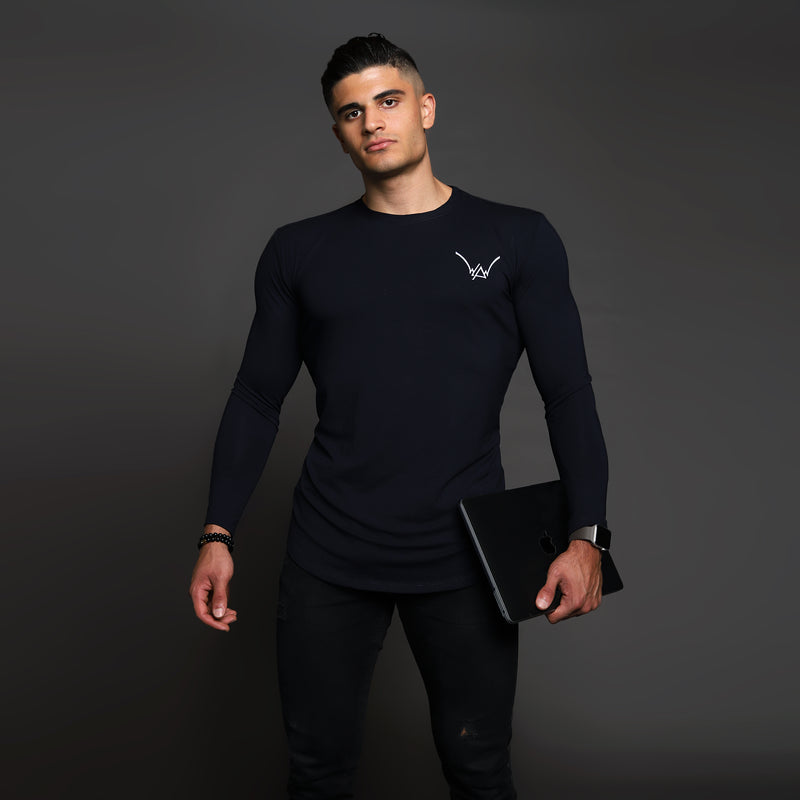 Bamboo Embroidered LS Urban Navy Shirt - WDCS | Widesthetics