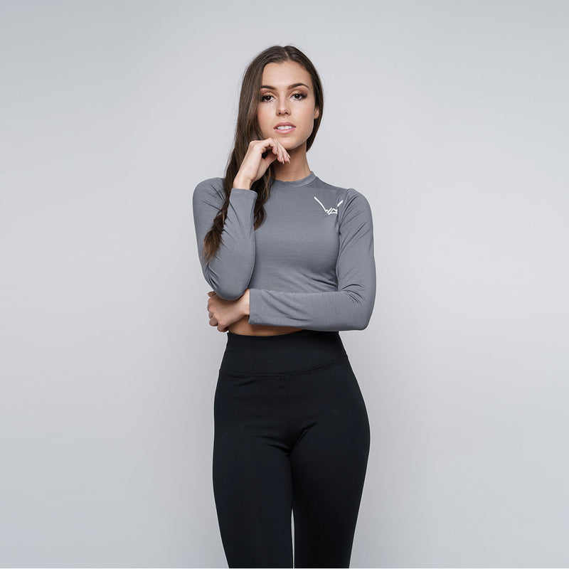 Bamboo Steel Grey Crop Top LS - WDCS | Widesthetics