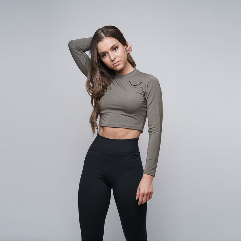 Bamboo Olive Crop Top LS - WDCS | Widesthetics