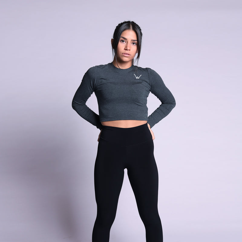 Bamboo Charcoal Melange Crop Top LS - WDCS | Widesthetics