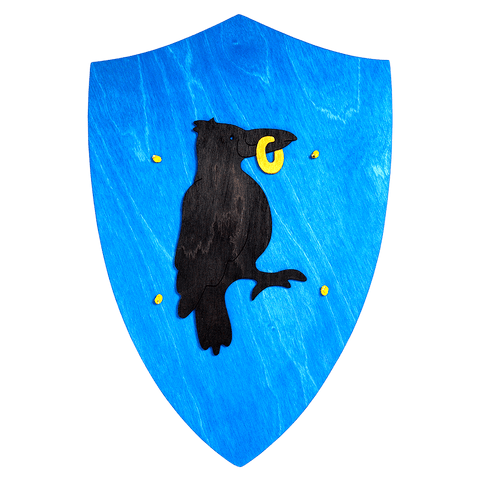 Wooden Black Crow Shield