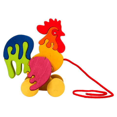 Pull Along Rooster Toy