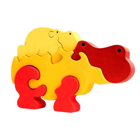 Hippo Family Puzzle - Orange