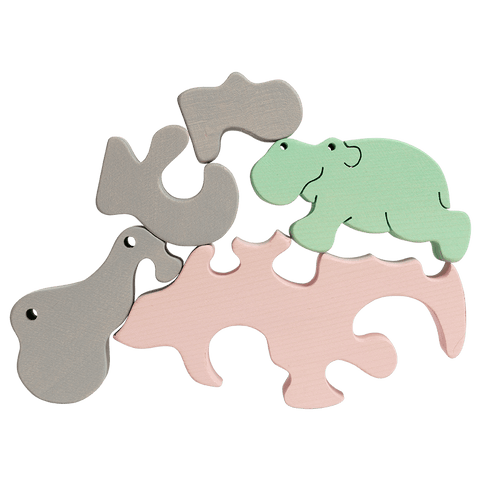 Hippo Family Puzzle - Pastel Pink