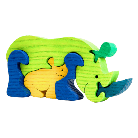Rhinoceros Family Puzzle - Green