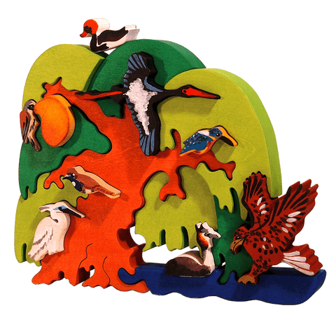 European Waterfront Bird Tree Puzzle