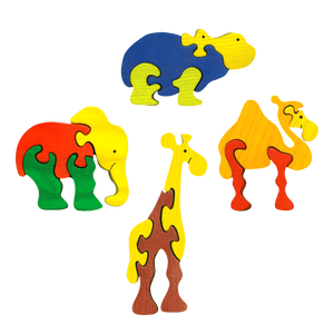 African Animals Four Piece Puzzle Set