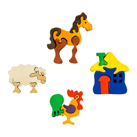 Farm Animals Four Piece Puzzle Set