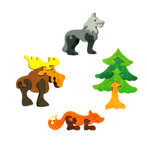 Forest Animals Four Piece Puzzle Set