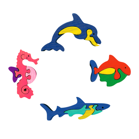 Ocean Animals Four Piece Puzzle Set