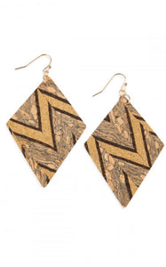 Rhombus Shape Earrings-Zig Zag Pattern