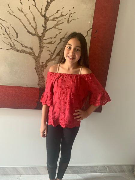Kids Red Off Shoulder Top