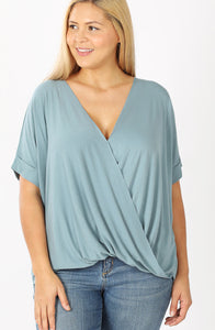 Draped Front Top- Plus- Blue Grey
