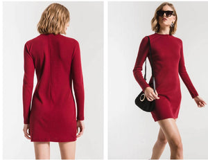 Z Supply- Thermal L/S Dress -Red (FINAL SALE)