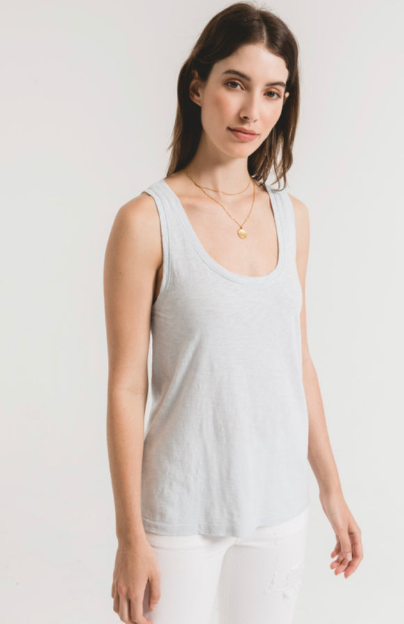 Z Supply-Cotton Slub Scoop Tank-Oasis Blue