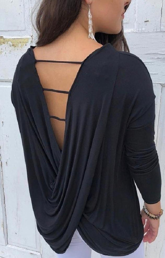 Black Open Back Pullover