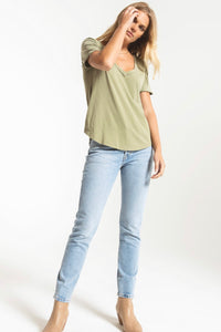 Z Supply-Organic Cotton V Neck Tee-Light Sage