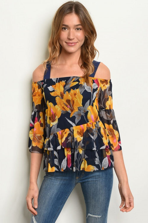 Navy Floral Mustard Top
