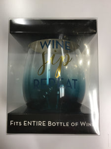 Wine Sip Repeat (full bottle glass)