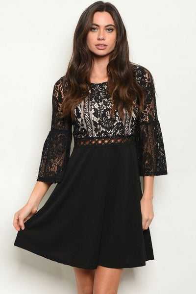 Black Nude Lace Dress (FINAL SALE)