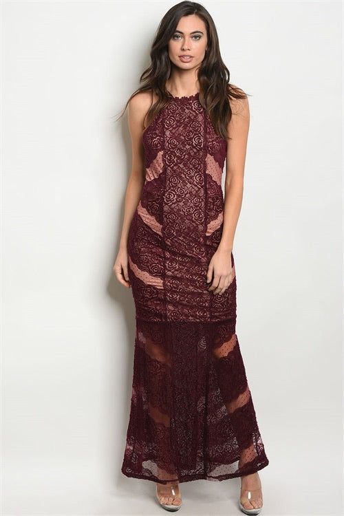 Long Burgundy Lace Dress