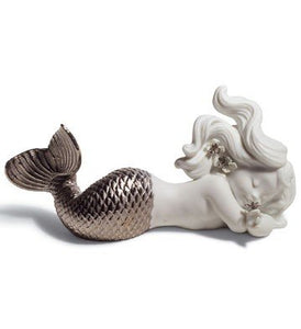 Lladro Day Dreaming At Sea Silver Re-Deco Figurine