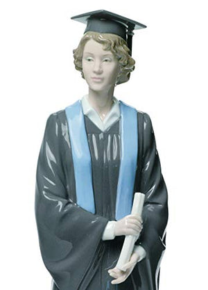 LLADRÓ Her Commencement Woman Figurine. Porcelain Graduate Figure.