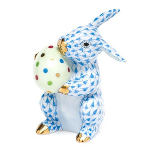 Herend Easter Bunny Rabbit Porcelain Figurine Blue Fishnet