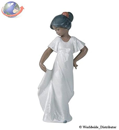 "Nao by Lladro Collectible Porcelain Figurine: LITTLE SWEETHEART how pretty - 8 3/4"" tall - Treasured Memories 'ethnic' Collection"