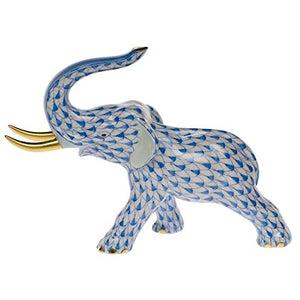 Herend Elephant Trunk Up Porcelain Figurine Blue Fishnet