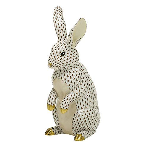 Herend Large Standing Bunny Rabbit Porcelain Figurine Chocolate Fishnet
