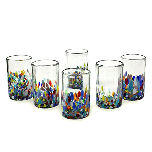 NOVICA Artisan Crafted Recycled Hand Blown Glass Water Glasses, Multicolor, 14 Oz, 'Confetti' (Set Of 6)